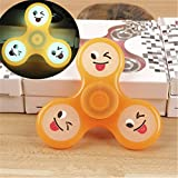 DSSY Luminous Emoji EDC Smile Face Hand Spinning Fidget Toy Glow in the Dark For Autism and ADHD (Orange)
