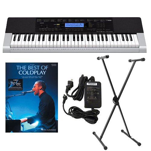 Casio CTK4400 61-Key Touch Sensitive Personal Keyboard Deluxe Package with Casio Keyboard Adapter, Keyboard Stand & The Best of Coldplay Easy Piano Play Along Book by Casio