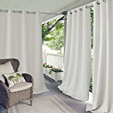 white outdoor curtains - Elrene Home Fashions 20864ELR Connor Indoor/Outdoor Solid Grommet Panel Window Curtain,White,52
