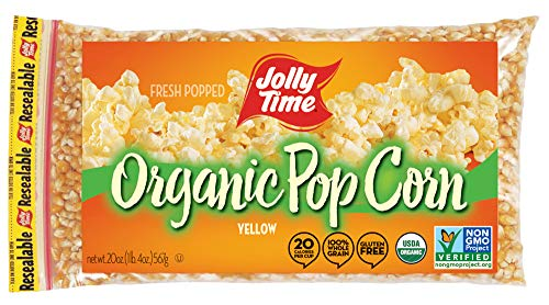 JOLLY TIME Organic Popcorn Kernels   Non-GMO & Gluten Free Natural Yellow Unpopped Corn for Stovetop Popping (20 oz. Bags, Pack of 3)