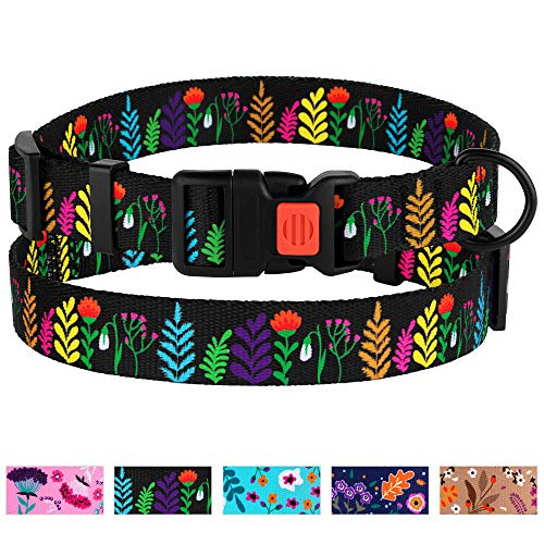 CollarDirect Floral Dog Collar Nylon Pattern Flower Print Adjustable Pet Collars for Dogs Small Medium Large Puppy (Neck Fit 10