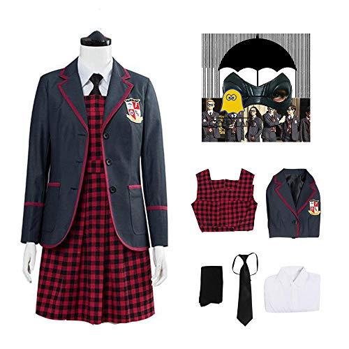 6 piezas The Umbrella Academy uniforme escolar para niñas Vanya Allison Cosplay disfraz Halloween carnaval fiesta trajes para mujer conjunto de falda