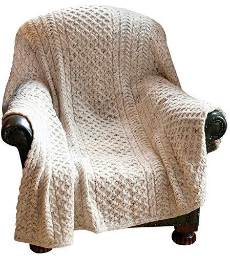 100% Irish Pure Wool Honeycomb Throw-60X50inch60x50 Natural