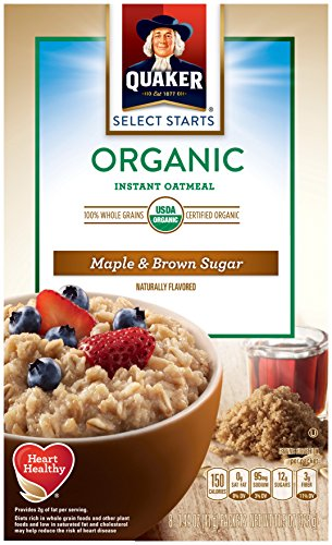Quaker Instant Organic Oatmeal Maple & Brown Sugar Breakfast Cereal, 8 Packets Per Box (Pack of 6 Boxes)