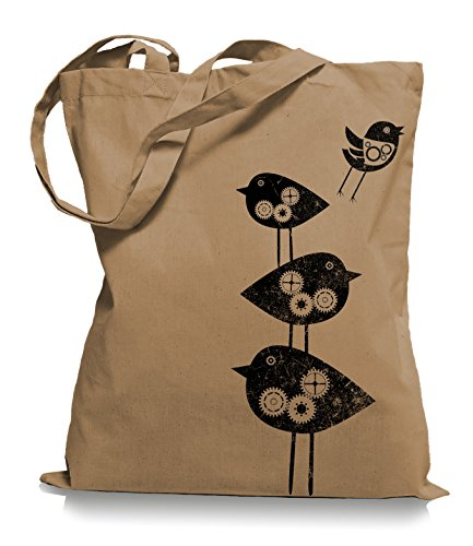 Ma2ca® Mechanical Birds - Jutebeutel Stoffbeutel Tragetasche / Bag WM101 Caramell