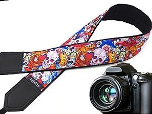 Halloween camera strap. Sugar skulls camera strap. Skulls and roses, and golden fish. DSLR Camera Strap. code 00293