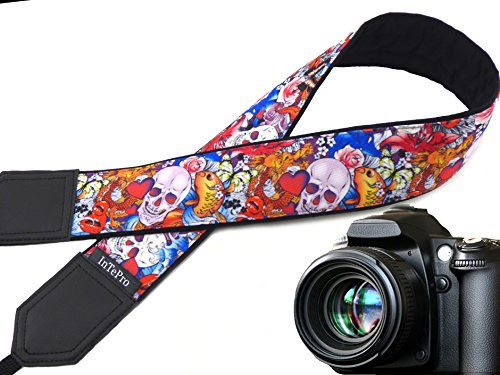 Halloween camera strap. Sugar skulls camera strap. Skulls and roses, and golden fish. DSLR Camera Strap. code 00293 (Three Guys Halloween Ideas)