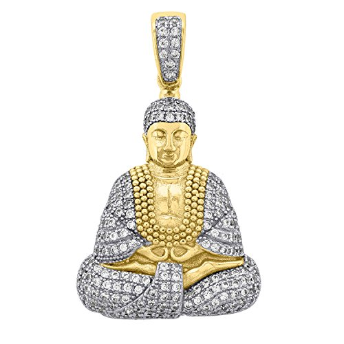 FB Jewels 925 Sterling Silver Yellow-tone Mens Round Cubic Zirconia CZ Sitting Buddha Pendant Charm (22mm)
