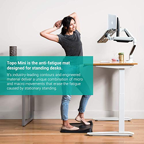 Topo Mini by Ergodriven | The Smaller Not-Flat Standing Desk Anti-Fatigue Mat with Calculated Terrain (Obsidian Black)
