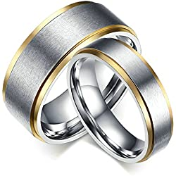 MoAndy 316L Stainless Steel Brushed Silver Plated Wedding Ring Matching Set For Couple 8MM/6MM Size 10
