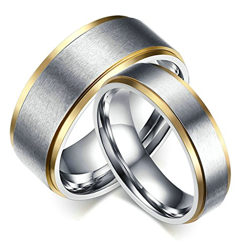 MoAndy 316L Stainless Steel Brushed Silver Plated Wedding Ring Matching Set For Couple 8MM/6MM Size 12