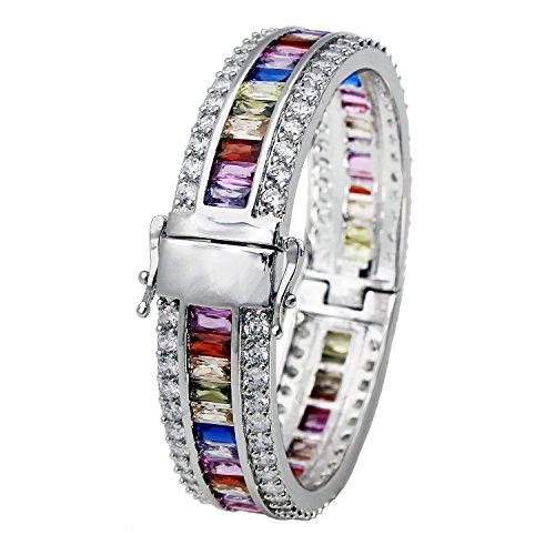 Morganite Topaz Garnet Amethyst Ruby Aquamarine Sterling Silver Bracelet 8 Inch