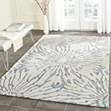 Safavieh Bella Collection BEL129B Handmade Dark Blue and Ivory Premium Wool Area Rug (6′ x 9′) For Sale