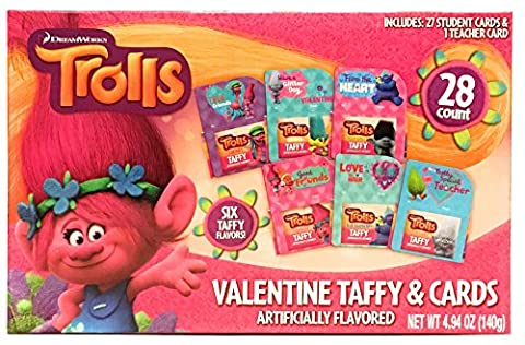Trolls Valentine's Day Cards For School - Exchange Cards and Gifts for Kids in the Classroom (27)ct plus (1) Teacher (Exchange Valentines For Kids)