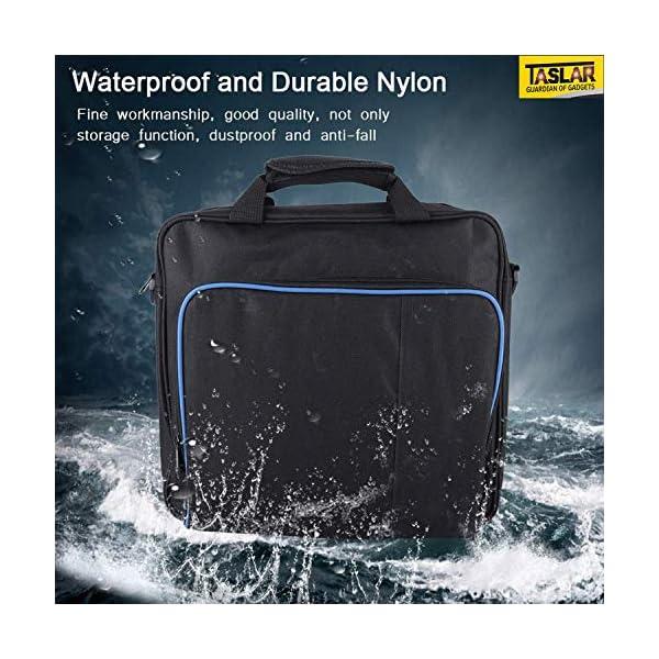 TASLAR Console Carrying Case Shoulder Bag Waterproof Shockproof Game System Protective Travel Case Accessories Handbag Compatible with PS4 Playstation 4 Slim (Black)