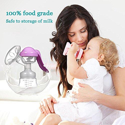 Manual Breast Pump Silicone Hand Pump Breastfeeding Food Grade BPA Free Manual Pump with Lid Portable Milk Saver for Breast Feeding by vadalala (Image #2)