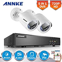 ANNKE 4CH Security System 1080P Lite DVR and (2) 1280TVL 1.0MP Outdoor Weatherproof Cameras,65ft Night Vision with IR Cut build in, Quick Remote Access via Smartphone, No HDD, White