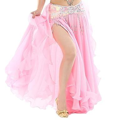 Falda Larga Color Sólido Mujer Gasa Danza del Vientre Alta Falda ...