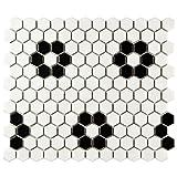 SomerTile FDXMHMWF Metro Hex Matte  White w/Flower  Porcelain Mosaic Tile, 10.25'' x 11.75'', Matte White