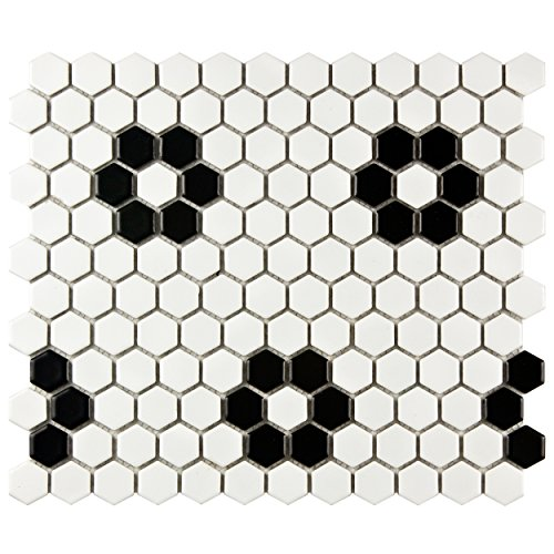 - SomerTile FDXMHMWF Metro Hex Matte  White w/Flower  Porcelain Mosaic Tile, 10.25