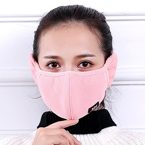 ZHU ZI Winter Cold-proof Mask Earmuff Cloth Face Mouth Mask Adult Thicken Mouth-muffle Safety Particle Respirator Filters Bacteria Protection Anti Dust Anti-fog Windproof Earmuff (black And red)