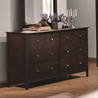 Coaster Home Furnishings  Tia Modern Transitional Six Drawer Dresser with Kenlin Glides - Cappuccino