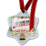 Add Your Own Custom Name, Worlds Best Medical Student Christmas Ornament NEONBLOND