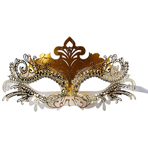 Vanki 1 PCS Masquerade Mask Laser Cut Metal Shiny Rhinestone Party Mask,White&Gold