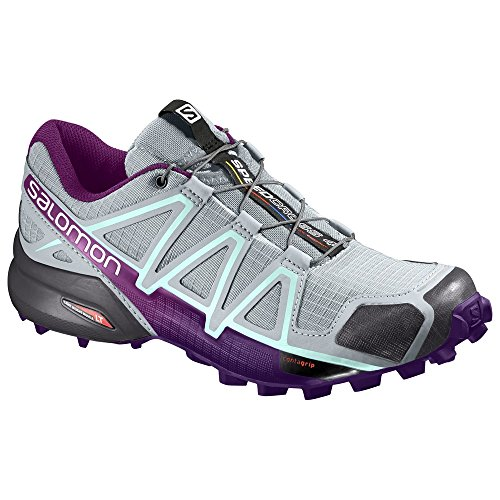 Zapatillas Para Correr Salomon Mujeres Speedcross 4 Trail Y Quicklace Bundle Quarry / Acai / Fair Aqua