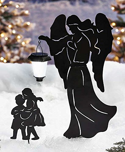 Guardian Angel And Children Solar Powered Lighted Lantern