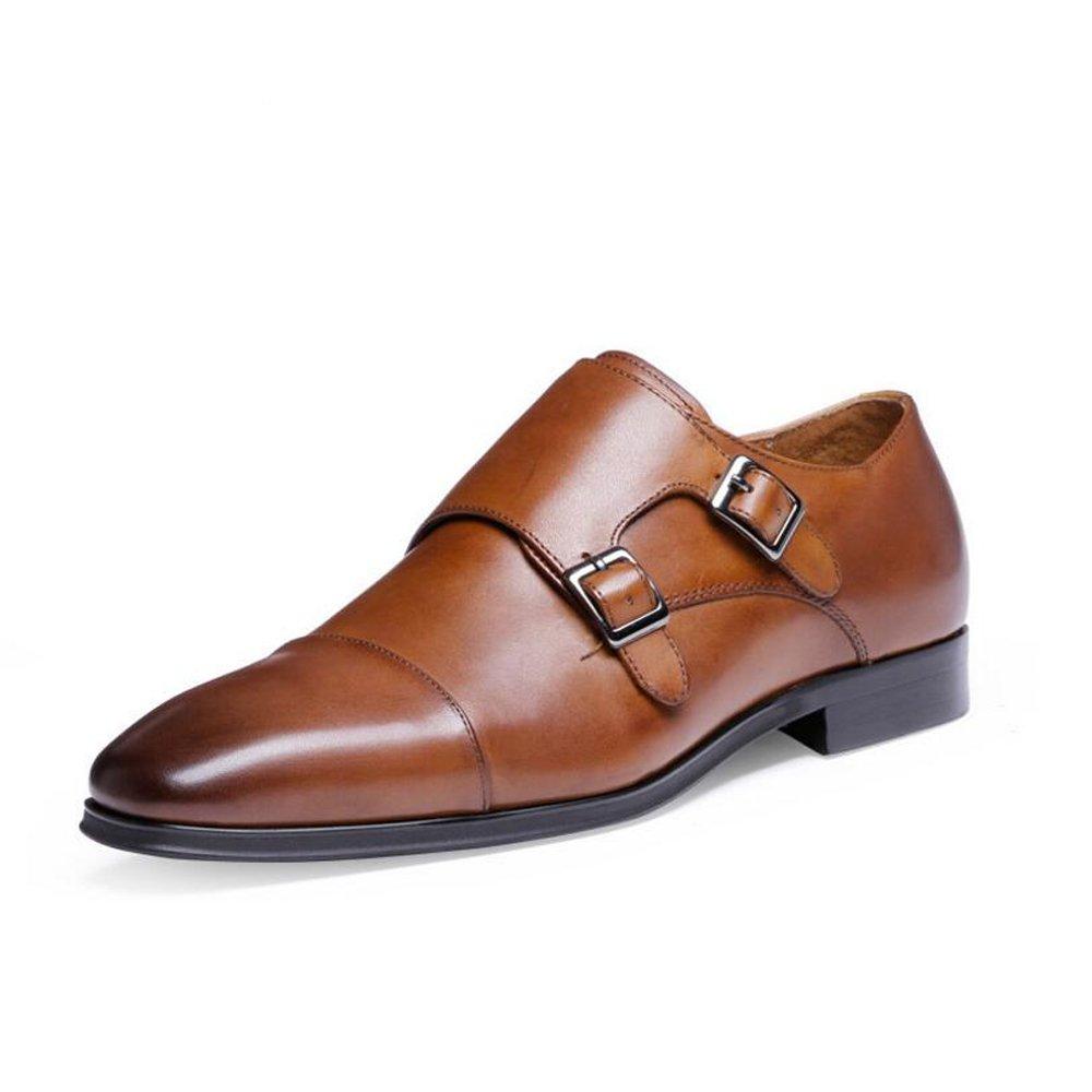 Zapatos formales de cuero para hombre - Zapatos de vestir de alta gama - Zapatos Monk de cuero con hebilla - Zapatos Four Seasons de gran tamaño para hombres Talla 6-14 GAOLIXIA ( Color : Brown , tamaño : 47 ) 47|Brown