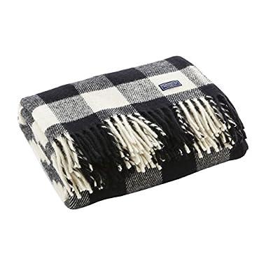Faribault Woolen Mill 01770 White/Black Buffalo Check Throw