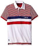 U.S. Polo Assn. Men's Short Sleeve Color Blocked Slim Fit Pique Shirt, 8256-Winning Red, M