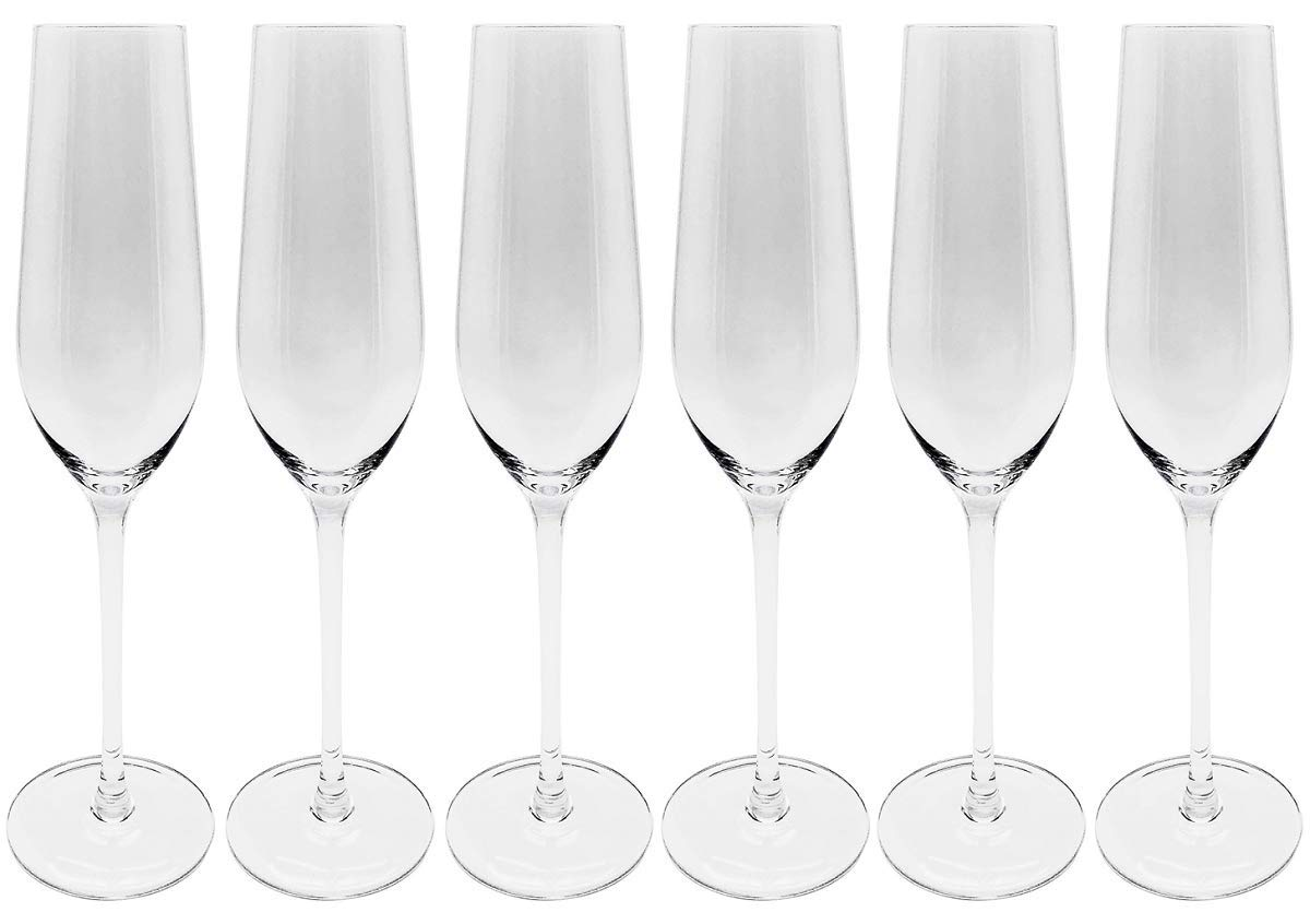 CoolZest Champagne Flutes, Elegant Champagne Glasses, Lead-Free Crystal Glass, Perfect for Any Occasions, 7 Ounce, Set of 6, Toasting Flutes