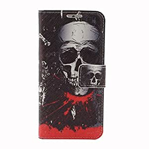 JUJEO Color Prints Leather Stand Case with Card Slots for iPhone 6 4.7-Inch, Cool Bloody Skull, Carrying Case, Non-Retail Packaging