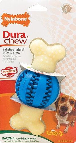 Dura Chew Bacon (Nylabone Dura Chew Regular Bacon Flavored Double Action Dental Ball and Bone Dog Chew)