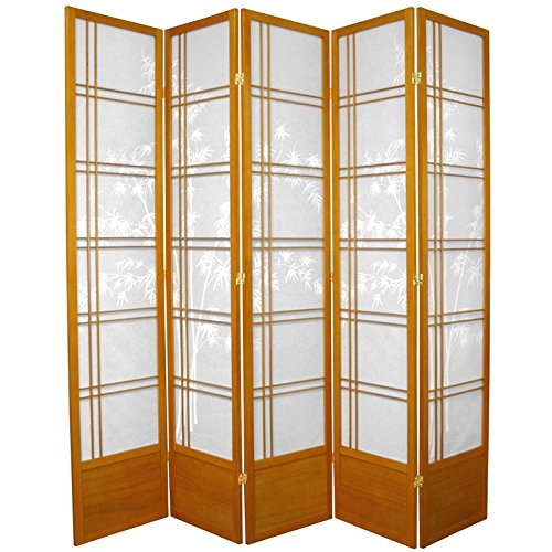 Tree Double Bamboo Cross (Oriental Furniture 7 ft. Tall Bamboo Tree Shoji Screen - Honey - 5 Panels)
