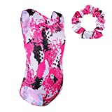TFJH E 2 in 1 Sparkly Gymnastic Leotard for Girls Athletic Apparel Tumblewear with Scrunchie HotPink 12A