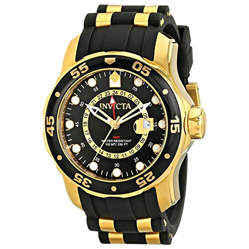 Invicta Men's 6991 Pro Diver Collection GMT 18k Gold-Plated Stainless Steel Watch with Black Band by Invicta