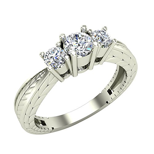 3/8 ct tw Past Present Future Engraved Three Stone Anniversary Ring Diamond Engagement Ring 14K Gold (G,I1)