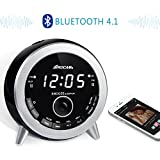 ROCAM Bluetooth 4.1 Digital FM Alarm Clock Radio with Dual Alarm, Snooze, Sleep Timer, Brightness Dimmer, 7 Colors Night Light, Battery Backup, USB Charging and AUX-IN for Bedroom