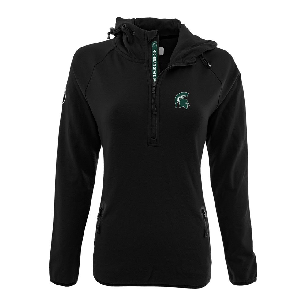 NCAA Women 's Faint Insignia太字Quarter Zipミッドレイヤーシャツ B074QTHGS1 Large|ブラック|Michigan State Spartans ブラック Large
