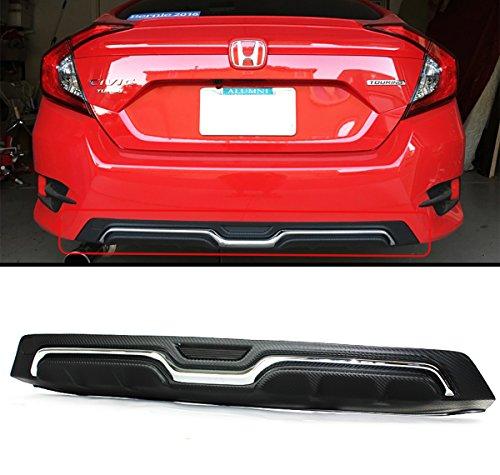 Fits for 2016-2018 Honda Civic 4 Door Sedan Carbon-Look Texture Chrome Rear Bumper Diffuser ()
