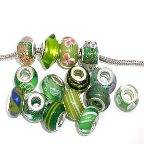 Pack of 10 Beads Glass Lampwork Murano Glass Beads for European Style Bracelets. (GREEN)