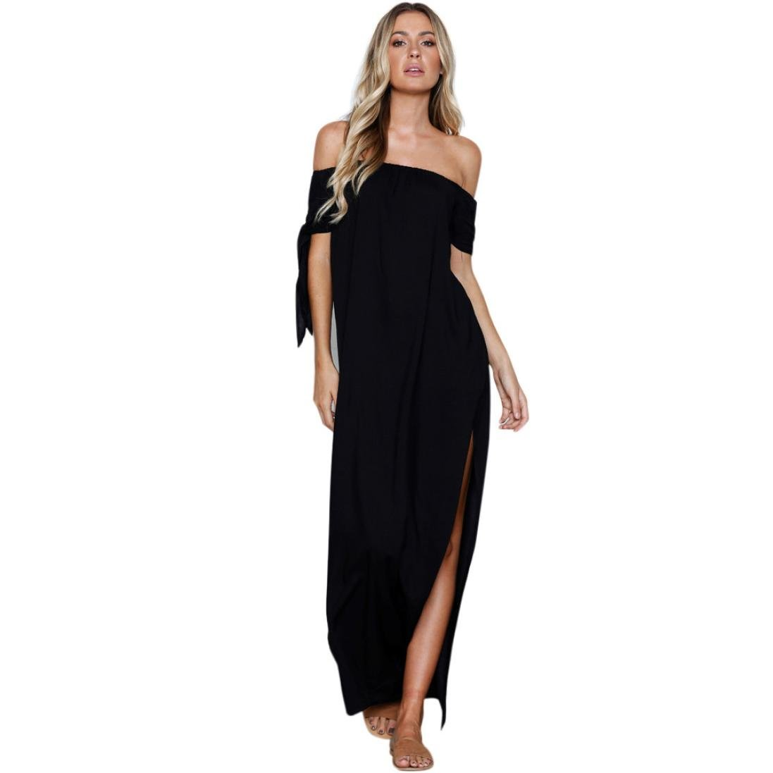 Big Promotions! Tootu Fashion Women's Summer Pure Slash Neck Bow Evening Dress Floor-Length Maxi Dress (L, Black) by Tootu Home Clothing