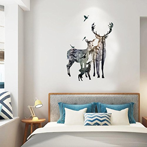 Leyorie DIY Removable Wall Decal Vinyl Wall Stickers Creative Mural Art Home Decor (Deer Elk Head)