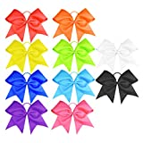 "HipGirl Boutique Girls Women 6"" Jumbo Large Cheer Bow Elastic Hair Tie Ponytail Holder for High School College Cheerleading (10pc Assorted Solids)"