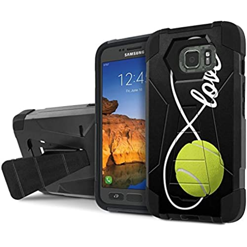 AT&T [Galaxy S7 Active] Combat Case [SlickCandy] [Black/Black] Armor Shell & Impact Resistant [Kick Stand] [Shock Proof] Phone Case - [Love Tennis] for Sales
