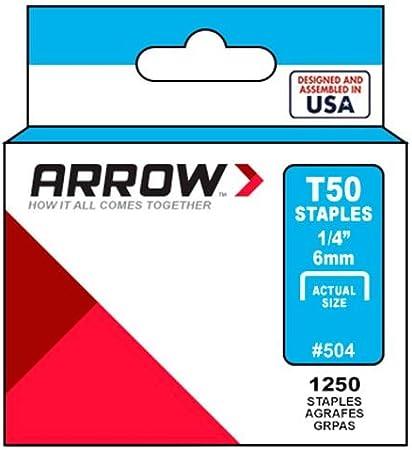 1000 Pack Arrow Fastener 504SS1  Staples 1//4