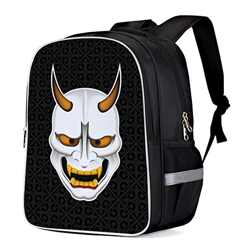 Unisex Durable School Backpack- Halloween Monster Mask, Lightweight Oxford Fabric School Bags with Reflective Strip Daypack Laptop Bags -